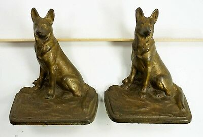 Vintage German Sheppard Cast Iron Bookends With Bronzed Finish - Set of 2