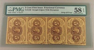 1862 Fr. 1230 Five Cent Fractional Currency Uncut Strip of Four PMG 58 EPQ