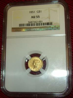 1851 $1 One Liberty Head  Gold Coin One Dollar Certified By Ngc Au55  Rare Coin