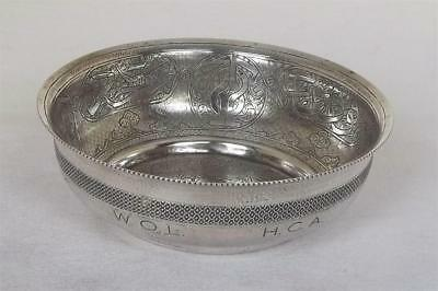A Stunning Solid Silver Engraved Egyptian Bowl From Cairo Dates 1937-38.