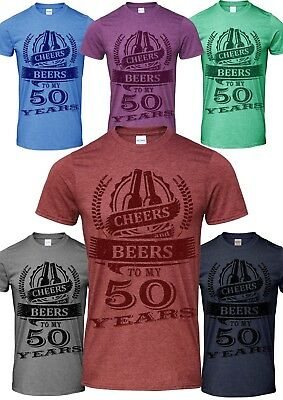 50th Birthday Gift Celebration Cheers And Beers Mens T Shirt Humour Slogan Quote