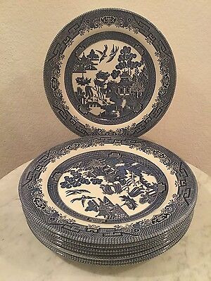 "Churchill ""Blue Willow"" Fine Tableware Set Of 8 Dinner Plates. Made England."
