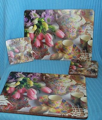 chintz tea pot cup tulips place mats coasters x4 each cork backed floral unused