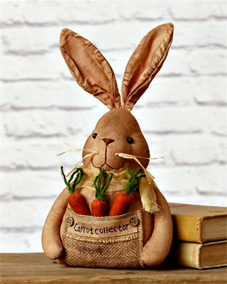 Primitive` Country `Make Do Bunny Rabbit Doll` Carrot Collector` Spring Easter