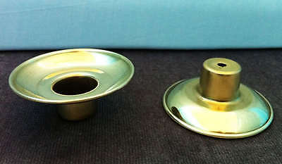 Pair (2) Polished Solid Brass Sconces For Wooden Candle Sticks Drip Catchers