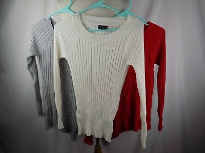 Lot of 3 George Women's Crew Neck Ribbed Sweater Small Red Gray White