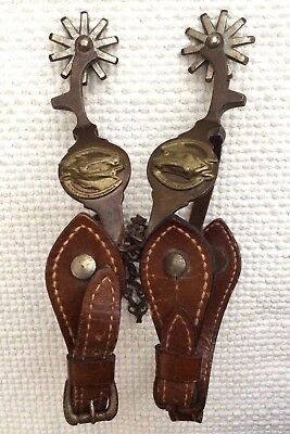 VINTAGE PARTRADE BRASS HORSEHEAD 10 ROWEL SPURS w//LEATHER & CHAIN STRAPS - EXC.