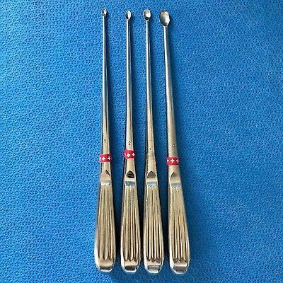 Lot of 4 Jarit Bruns Straight Oval Curettes Sz. 1/2/4/6 Neuro Surgical O/R
