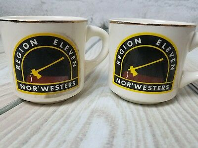 Set of 2 BSA Mug Region Eleven Nor'westers Axe Wood Chopping Coffee Cups (2)