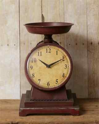 Primitive `Reproduction`Vintage`Grocery Scale with Built in Battery Clock `