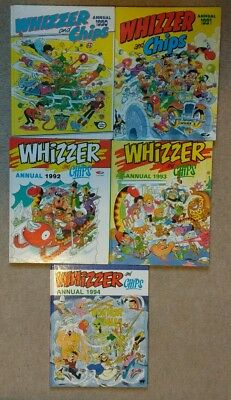 5 x Whizzer and Chips Annuals 1990-1994