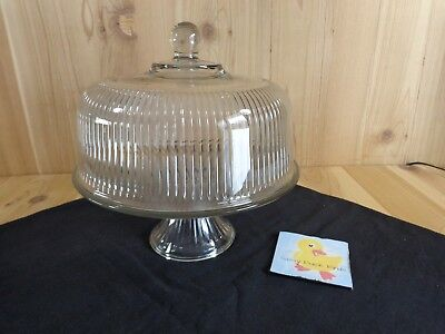 GLASS CAKE PLATE STAND WITH DOME Ribbed Pattern Ball Knob Handle Pedestal