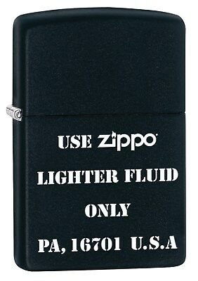 Zippo Lighter: Use Zippo Lighter Fluid Only - Black Matte 78081