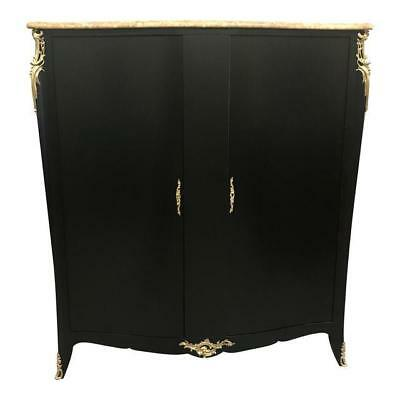 Monumental French Art Deco Ebonized Dry Bar Cabinet With Marble top 1940's