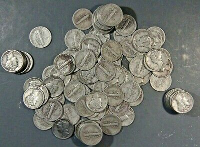 $10 FACE VALUE of MERCURY DIMES 90% SILVER (LOT OF 100 COINS)