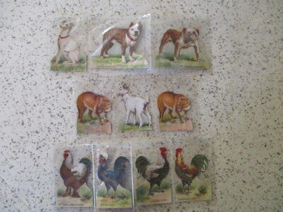 "10 ANTIQUE 1890's TRADE CARDS, ""McLAUGHLIN'S COFFEE"", DIE-CUT ANIMALS, NICE"