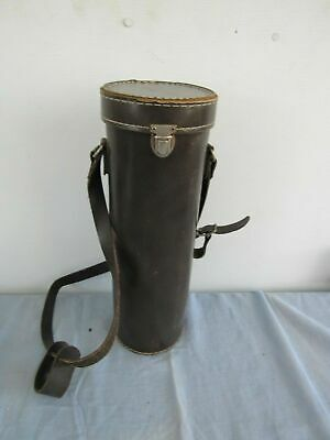 Faux Leather Single Wine Bottle Carrier Tube With Shoulder Strap Picnic 14""