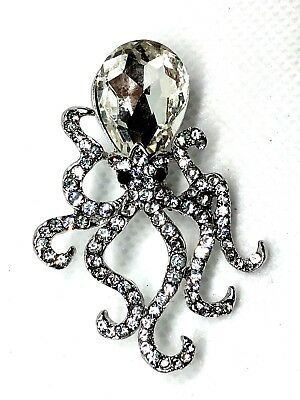 "OCTOPUS Brooch pin clear rhinestones 1.5""x2"" scuba diving snorkel surf GIFT #24"
