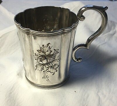 1840 Coin Silver Cup or Mug Tifft & Whiting Named Birth Cup Taft