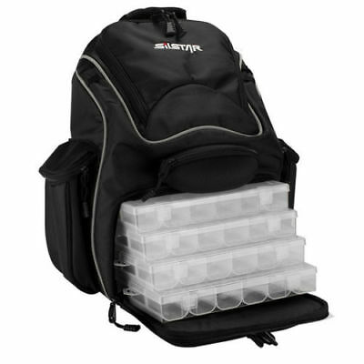 Silstar Fishing Backpack with 4 Tackle Boxes and Multiple Storage Pockets
