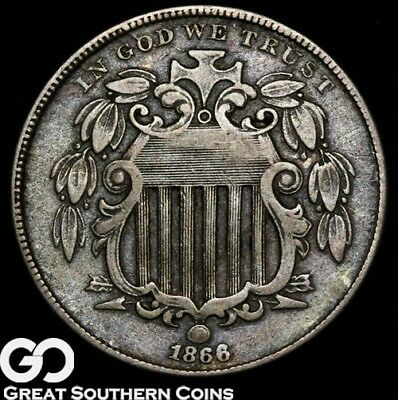 1866 Shield Nickel, With Rays