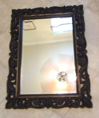 """Vintage Large Mid Century Wooden French Style Wall Mirror 40"""" x 30"""" Dark Red"""