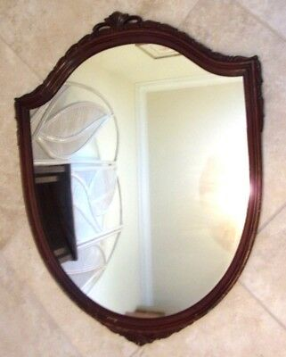 """Antique Vintage Shield Mid Century Wood Wooden French Style Wall Mirror 36""""x29"""""""