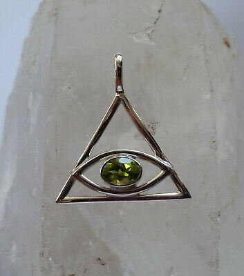 456 Eye of Providence Peridot gemstone Solid 925 Sterling Silver pendant rrp$45
