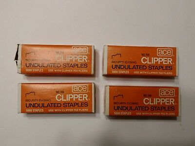 Ace No.700 Clipper Undulated Staples Lot of 4 New