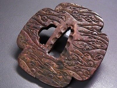 Fine Wave KATANA TSUBA 18-19th C Japanese Edo Antique Koshirae fitting e793