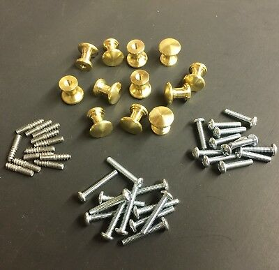 12 (6 Pair) Piano Fallboard/Key Cover/Desk Knobs, Solid Brass, Cabinet