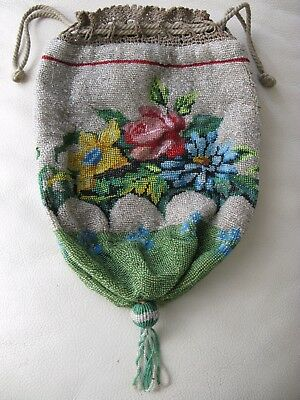 Antique Victorian Lime Green Floral Crochet French Micro Bead Drawstring Purse