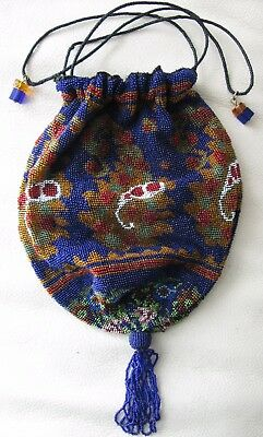 Antique Victorian Cobalt Blue Paisley Crochet French Micro Bead Drawstring Purse