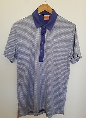 Puma Mens Golf Polo Top Size Medium Purple Retro Print Cell