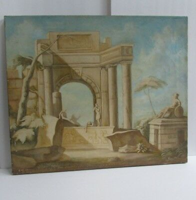 Antique Early 20th Century Oil on Canvas Painting Grand Tour Roman Ruins 20 x 24