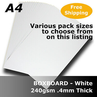 White Boxboard Packaging Card Stock 0.4mm Thick A4 Size 240gsm #B3008