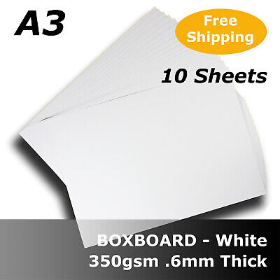 20 Sheets White Boxboard Packaging Card 0.6mm Thick A3 Size 350gsm #B3568 #J1