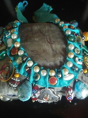 vintage hippie necklace collana pietre. murano .made in italy
