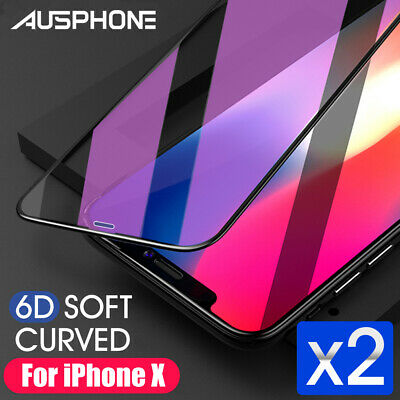 2 X 5D Full Cover iPhone X 8 7 6s Plus Screen Protector Tempered Glass Apple