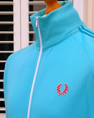 Fred Perry Turquoise Twin Taped Track Jacket - M/L - Ska Mod Scooter Casuals