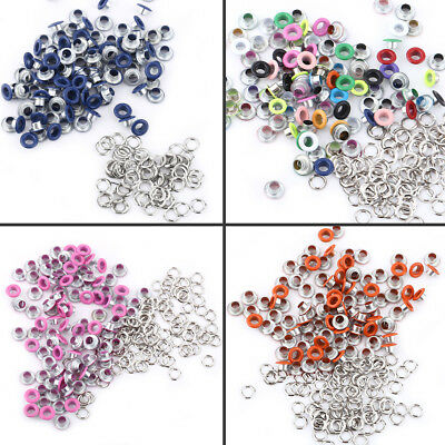 100 Sets 5mm Multi-functional Metallic Scrapbooking Eyelets Buckle Leather Craft
