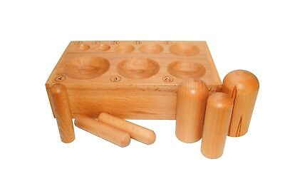 Set of 6 Wooden Dome Punches and Doming Dapping Block with 8 Hemispheres. J2098