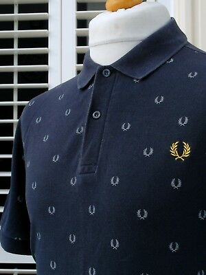 Fred Perry Navy Laurel Wreath Print Pique Polo - L - Ska Mod Scooter Casuals