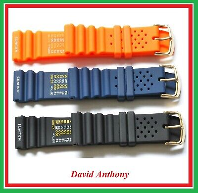 20Mm & 22Mm Divers Polyurethane Rubber N.d.time/Limits  Watch Strap. Gold Buckle