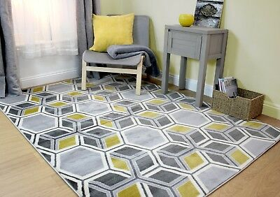 Element Cocktail Mimosa Grey Yellow Ochre Geometric Budget Rug in various sizes