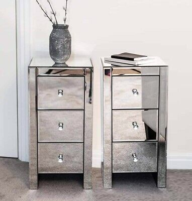 Pair of Mirrored bedside tables units cabinets with three drawers and crystal ha