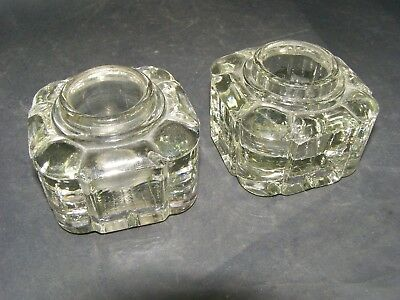 Antique Matching Pair Glass Inkwells