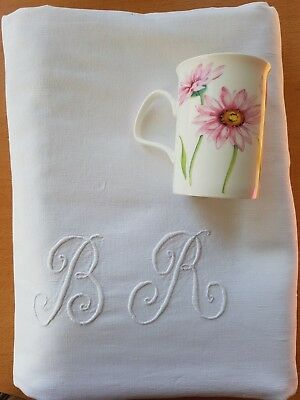Antique French fine PURE LINEN sheet hand embroidered monogrammed monogram BR RB
