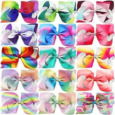 Habibee 15 Pcs 6 Inch Grosgrain Ribbon Toddlers Baby Girls Hair Bows Rain... New