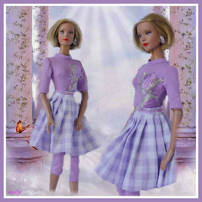 Ready For Spring !! Beautiful Trendy Lilac  Set Of Legging,top And Skirt  Ooak .